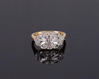 14k Art Deco Scalloped Diamond Oval Milgrain Ring Gold