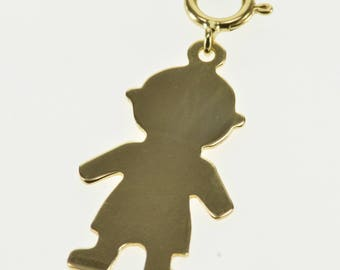 14k Stylized Cut Out Child Sihlouette Charm/Pendant Gold
