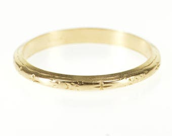 14k Classic Floral Patterned Wedding Band Ring Gold