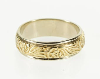 14k Ornate Two Tone Floral Patterned Wedding Band Ring Gold
