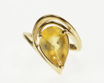14K Pear Citrine Solitaire Wavy Statement Freeform Ring Size 6.5 Yellow Gold