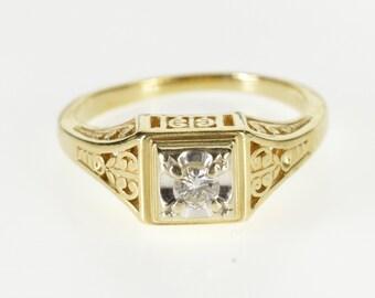 14K 0.15 Ct Ornate Scroll Diamond Engagement Ring Size 7.75 Yellow Gold