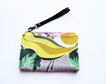 Yellow Flower on Gray Ground Vintage Barkcloth Fabric Wristlet Makeup Bag Zippered Pouch Gift For Her Him Holiday Christmas