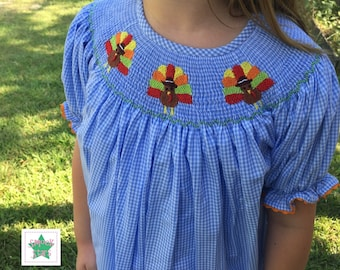 Smocked Turkey Dress, Smocked Fall Dress, Girls Dresses