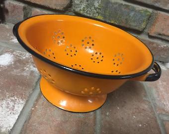 Vintage Orange Colander Made in Poland