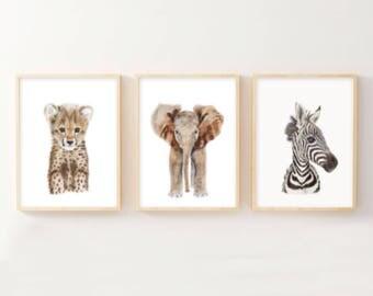 Baby Safari Animal Nursery Room Art, Watercolor Animal Prints, Safari Nursery Decor, Animal Nursery, Wall Art, Animal Prints - Set of 3