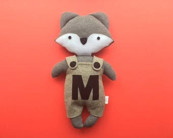 Personalised fox soft toy plushie in charcoal with grey tweed dungarees newborn baby shower gift girl boy softie