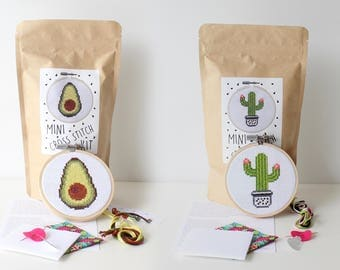 Avocado + Cactus Mini Cross Stitch Kit COMBO / 2 MINI kits / Gift for Stitcher / Cross Stitch Kit / Needlepoint Kit / Embroidery Stitch Kit