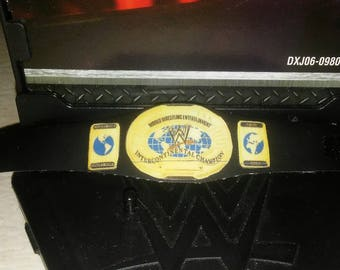 Intercontinental wrestling champion vinyl title belt.