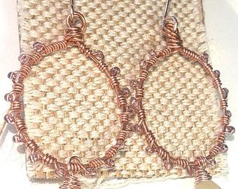 Moonstone Rose Gold Wire Wrapped Hoop Earrings