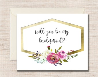 Will You Be My BRIDESMAID Note cards - DIGITAL or PRINTS