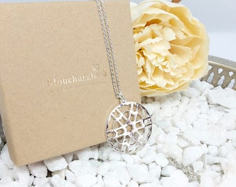 Tile/Moucharabia Sterling Silver Flower necklace.