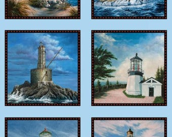 Lighthouses of the West  Panel  Cotton Quilt Fabric Elizabeth Studios