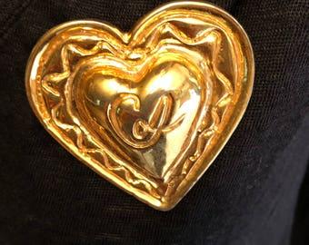 Vintage christian Lacroix heart brooch Christian Lacroix large wide vintage heart brooch