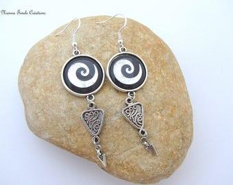 Sterling silver earrings,spiral jewelry, spiral earrings, pendant earrings,unique earrings, black and silver earrings, french handmade