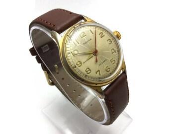 Vintage USSR Gold Plated AU Men's Wrist Watch 1950s VOLNA Wave (Wostok) Precision Soviet Mov.zenith 22 J. Chistopol  Super Gift for him!
