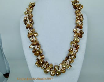 Kumihimo Golden Nugget Pearls and Cream Crystal Necklace