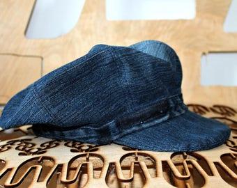 Handmade Denim hat Large Unisex hat Newsboy cap Baker Boy Cap Sun hat Edwardian Peaky Blinder Denim cap Bohemian Unique Repurposed Denim hat
