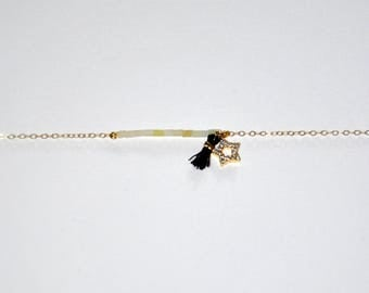Gold-plated bracelet, micro yellox Jade beads, gold-plated star paved with zircons, black tassel