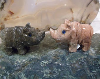 SALE! Soapstone Rhinoceros, Rhino Carving