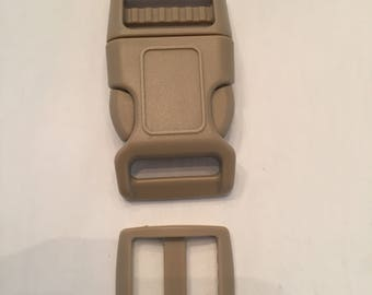 "Tan 1"" Curved Side Release Buckles and Slides"
