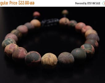 30% OFF, Bracelet, 8 mm Matte Picasso Jasper, Beaded bracelet, Mens Bracelet, Womens Bracelet, Bracelets for men,