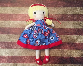 Fabric Doll Rag Doll Blonde/Yellow Haired Girl in Blue Butterfly Dress with two Skirts