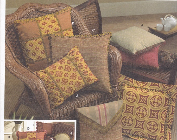 FREE US SHIP 5685 Sewing Pattern Andrea Schewe Conso Easy Pillows Beaded Trimming Pizazz Home Decorating Factory Folded