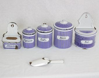 French Enameled Kitchen Canister Set // Enameled Aluminet // Enameled Salt  Box //