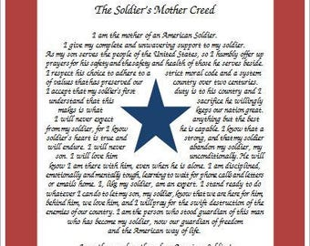 Blue Star Flag Print with The Soldier's Mother Creed