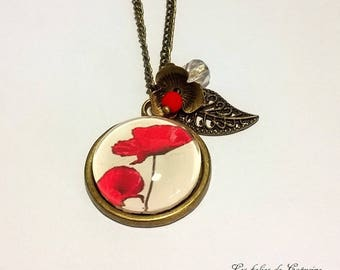• Coquelicots• black red flower cabochon necklace