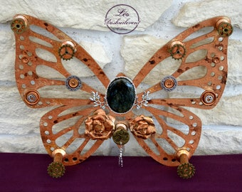 Decoration / Labradorite Steampunk Butterfly jewelry holder