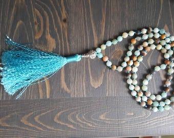 Amazonite rudraksha 108 beads, stones, yoga, meditation mala