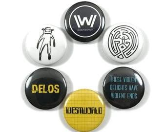 HBO Westworld Maze Quotes Fan Art 6 - 1 Inch Pinback Button Pin Set