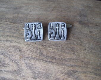 Vintage Metal Cufflinks Chess Cufflinks Soviet Cufflinks