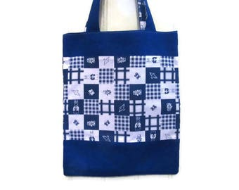 Kids bag/tote-bag / library bag lined and reversible blue and white