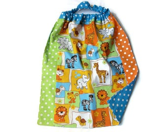 towel child table, canteen, elasticated, reversible, colorful zoo animals, green Orange Blue polka dots