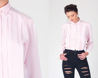 Light PINK retro 80s shirt with  hidden buttons and long sleeves 1980s vintage PREPPY high  collared blouse with PLEATS Small, Medium, s, m