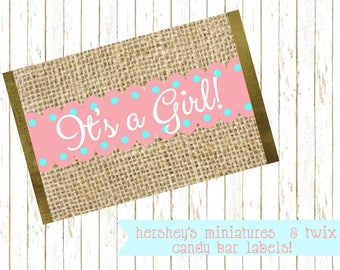 It's A Girl, Hershey Miniatures, Twix Candy Bar, Chocolate Bar Label, Baby Shower Favor