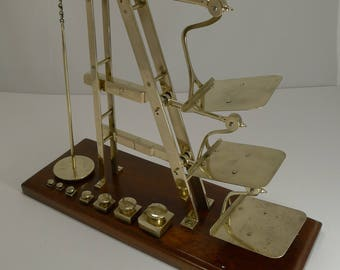 Rare Antique English GPO Triple Ladder Postal / Letter Scale c.1870