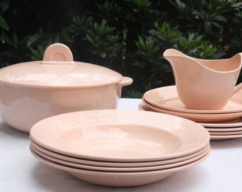 Great Vintage Fenal Freres France Pink Dinner Service, Table Ware