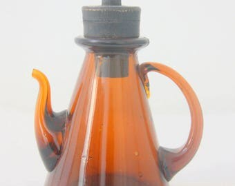 Rare Vintage Amber Glass Decanter, Apothecary Bottle with Sprout, Wooden Stopper