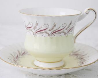 Vintage Paragon Bone China Cup and Saucer, Soft Yellow, England