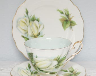 Vintage Royal Standard Tea Trio, Cup and Saucer and Pastry Plate, Virgo, Six World Famous Roses, Signed by Harry Wheatcroft