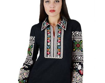Ukrainian Embroidered very rich and beautiful blouse of natural black linen