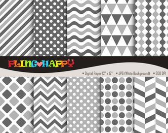 70% OFF Gray Color Set Digital Papers, Chevron/Polka Dot/Wave/Stripe Pattern Graphics, Personal & Small Commercial Use, Instant Download