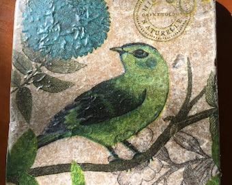 Coaster Set-Bird Coaster Set-Travertine tiles-Housewarming gift-Bird Coaster set-Farmhouse Decor-Wedding gift