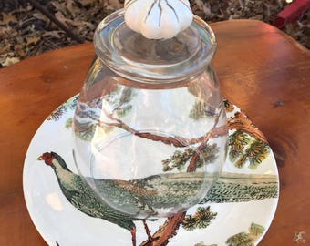 Vintage Pottery Barn Pheasant Plate with Cloche- Pottery Barn Plate-Pottery Barn Pheasant Plate-Cloche  Knob-Home Decor-Pottery Barn Decor