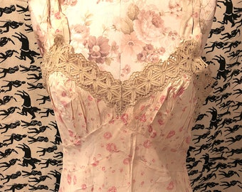 Vintage 1930s Slip 30s Bias Cut Rayon Floral Printed Full Gown with Ivory Lace Detail White Gown with Pink and Green Flowers Boho Wedding