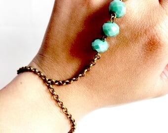 Boho Bohemien Gipsy Bronze and Turquoise Slave Bracelet Handlet